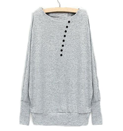 ZANZEA Ladies Batwing Knitwear Sweater Gray S-2XL