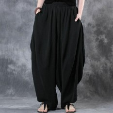 ZANZEA Woman Cotton Linen Wide Leg Pants Elastic Waist Vintage Casual Solid Baggy Harem Pants Lantern
