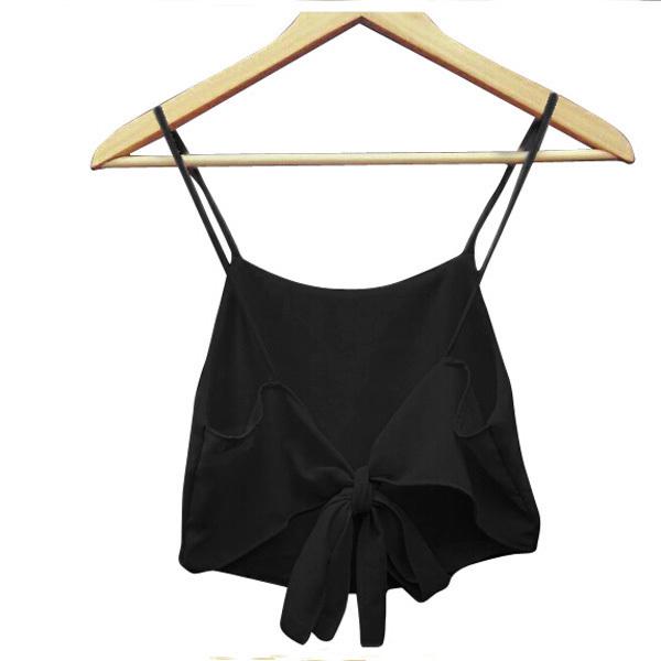 Zanzea Women Straps Backless Vest Casual Tops L (Black)