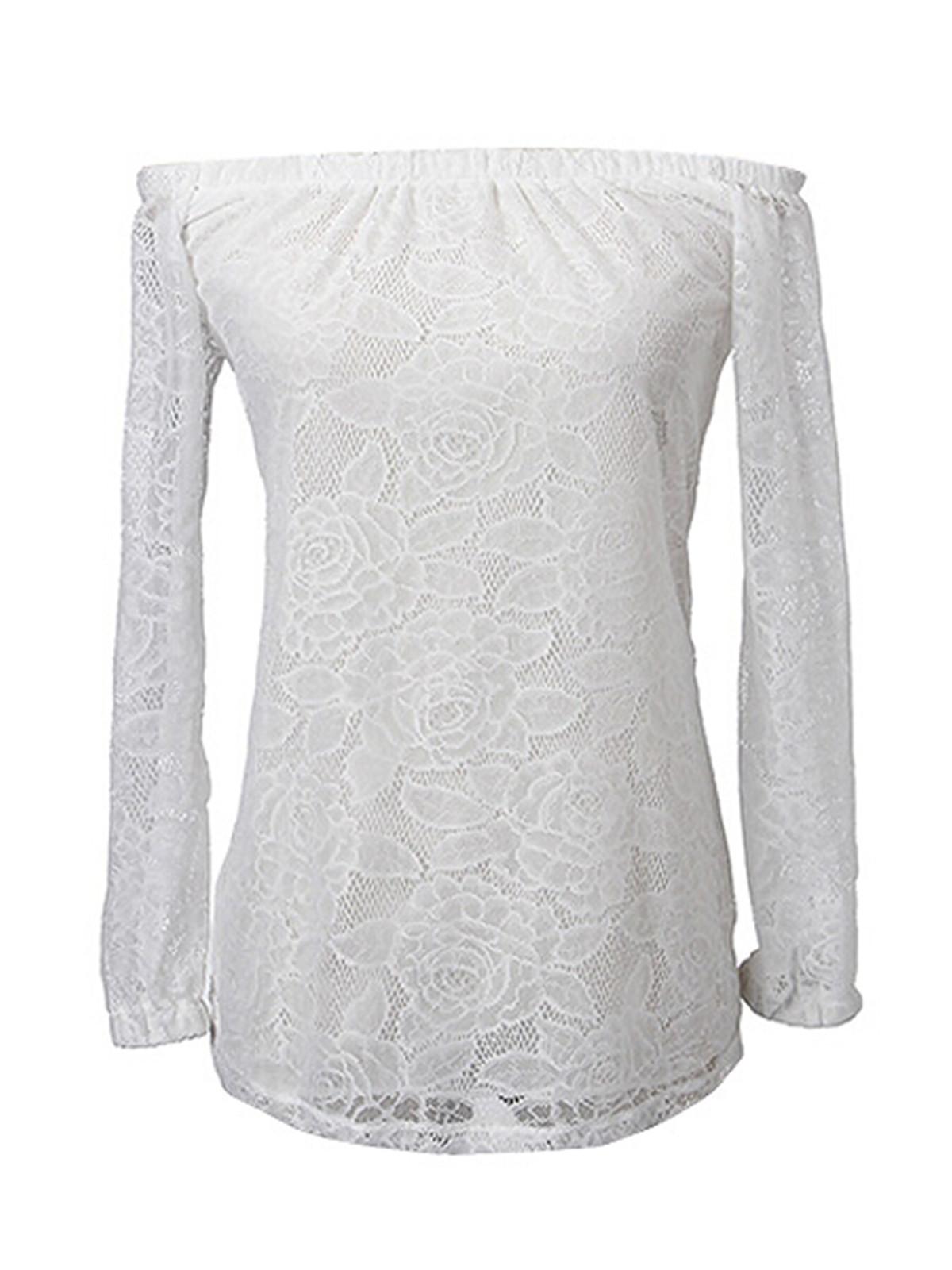 zanzea Womens Sexy Lace Off-shoulder Tops White
