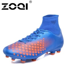 ZOQI High Cut Football Shoes Long Spikes Training Football Shoes Soccer  Cleats (Blue) - 72a2c3f4e8