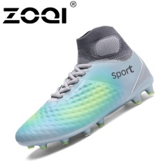 ZOQI High Cut Football Shoes Long Spikes Training Football Shoes Soccer  Cleats (Grey) - 0d86e112a5