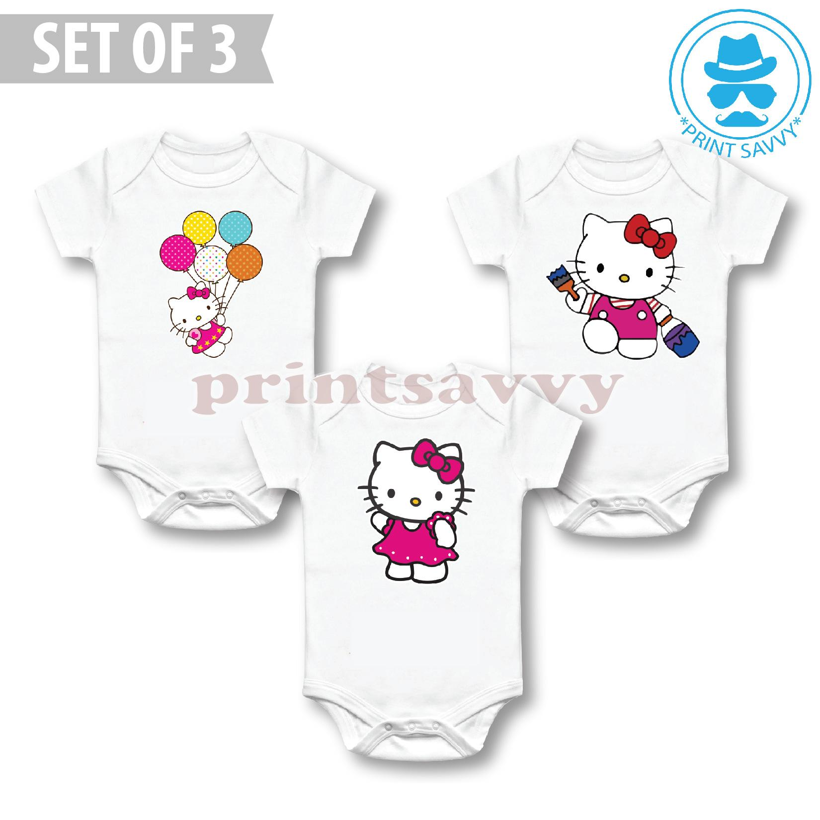 c9b5b15a0 COS #3: SET OF 3 Character Baby Onesies - Hello Kitty - Matching Newborn