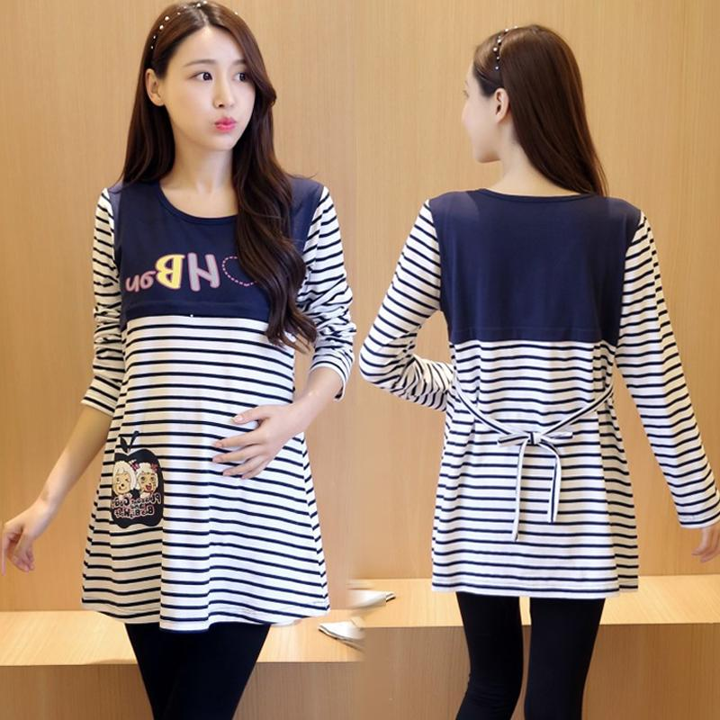 f20ede73900f9 Maternity Clothes Spring Clothing Tops Mid-length Long-sleeved T-shirt  Pregnant Women