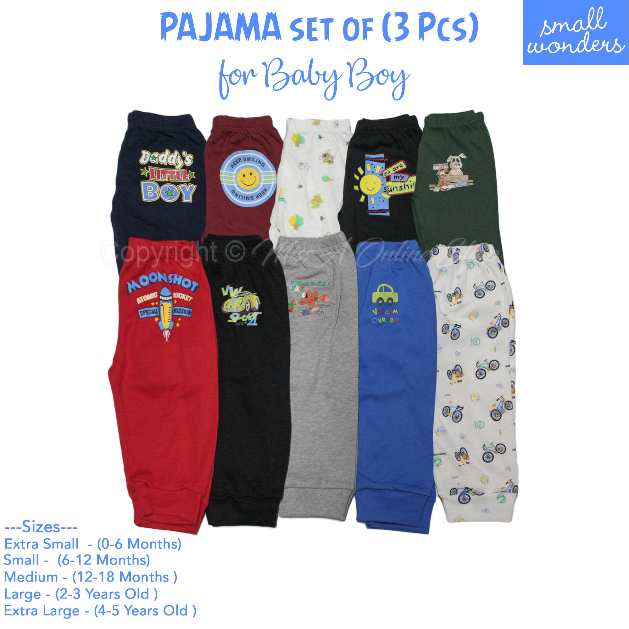 Pajama For Kids Boys 0m - 5yrs Old (3 Pieces) Small Wonders By Miss A Online Shop.
