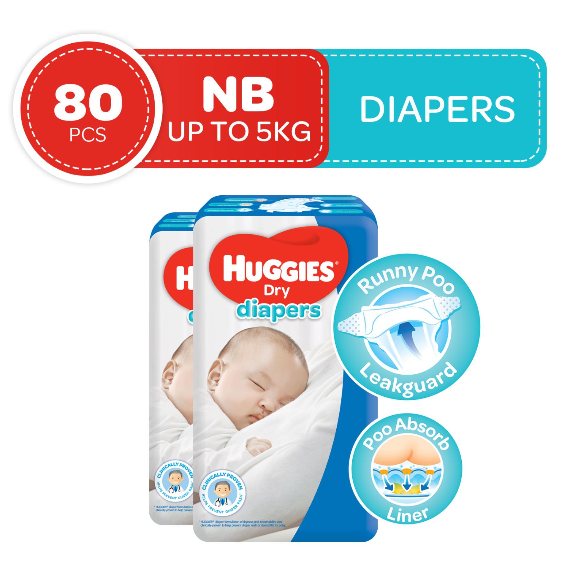 Huggies Dry Newborn - 40 pcs x 2 packs (80 pcs) - Tape Diapers