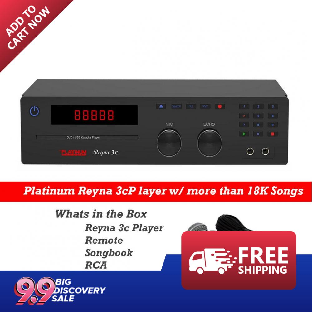 The Platinum Reyna 3C DVD/ Karaoke Player w/ Multiple BGV's (Black) Up to  18,000 Songs Vol:83