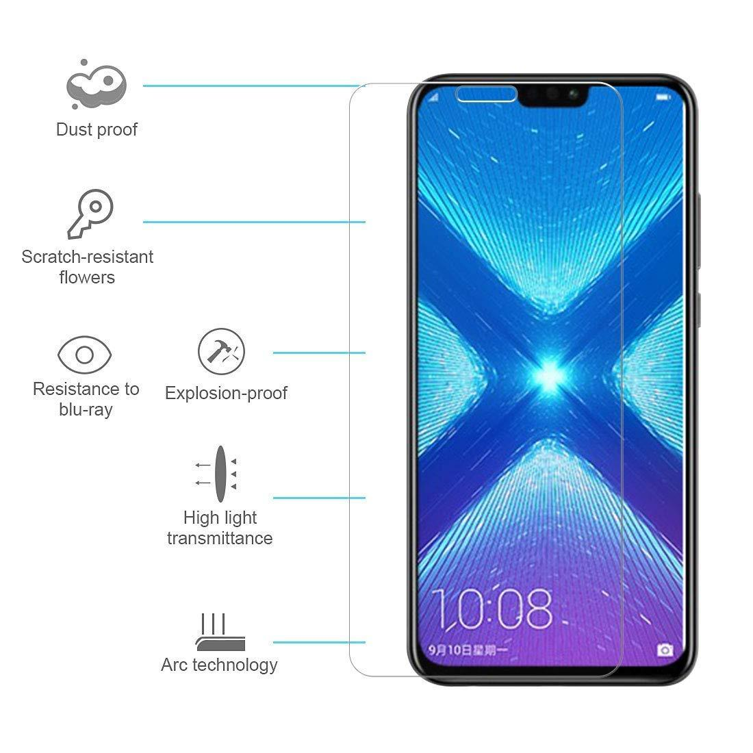 Honor 8x Tempered Glass Clear 2 5D Premium High Quality 9H Screen Protector  with Retail Packaging