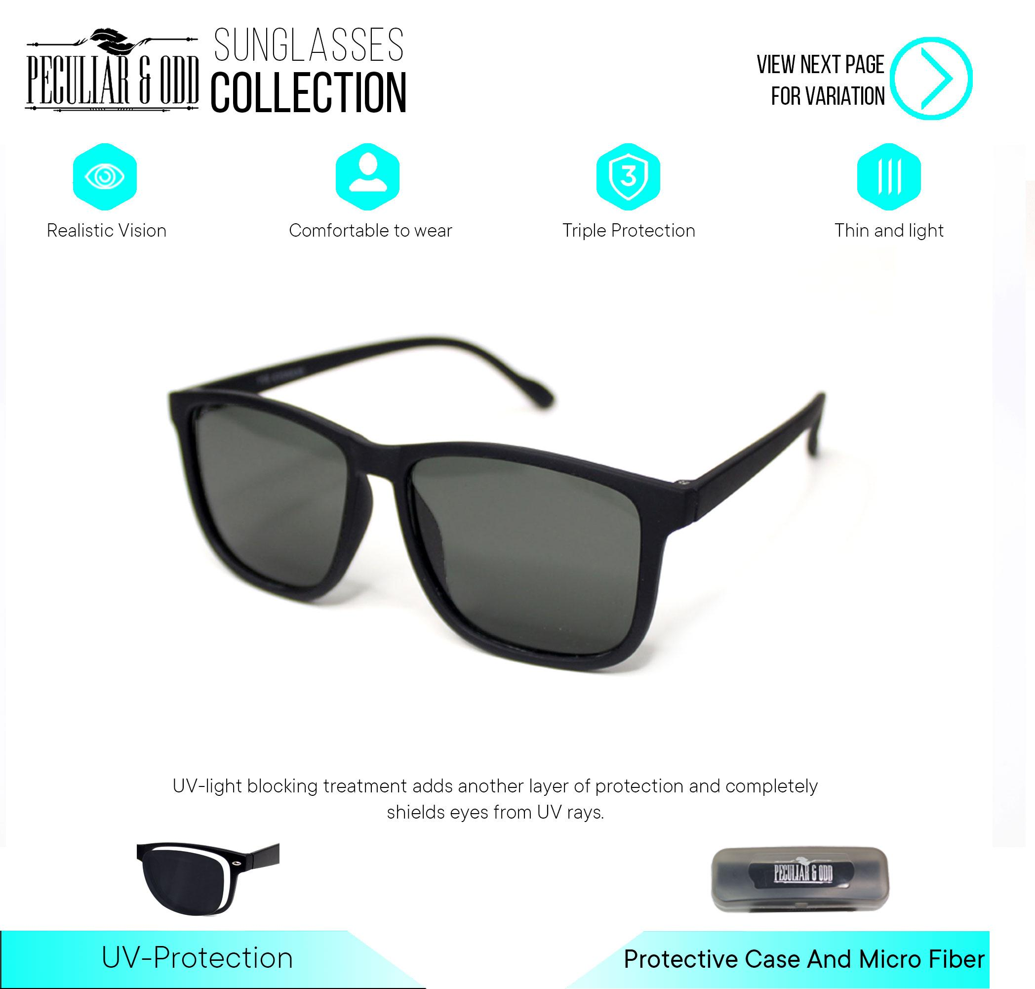 cfe5680e1bc30 Peculiar 3476 Black Glass Classic Lightweight Sunglasses in Acetate Frame  Glass Lens Unisex