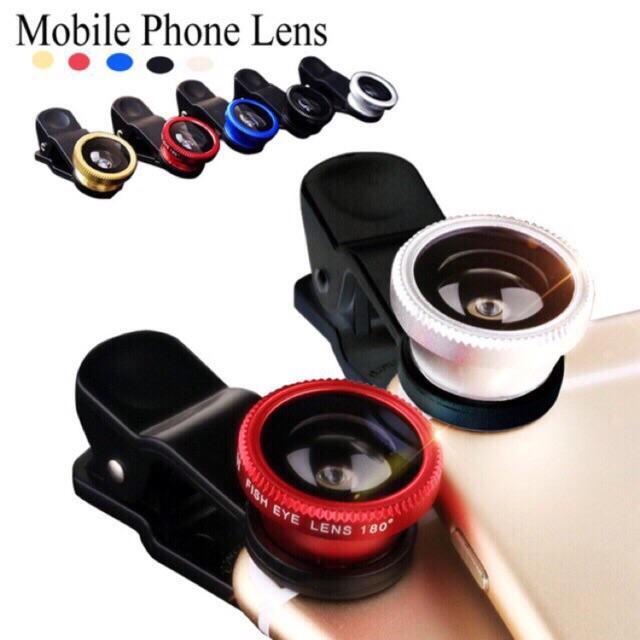 Universal 3 in 1 Camera Clip on Lens Kit Fish Eye Macro Wide Lens for Smart  Phone Tablet