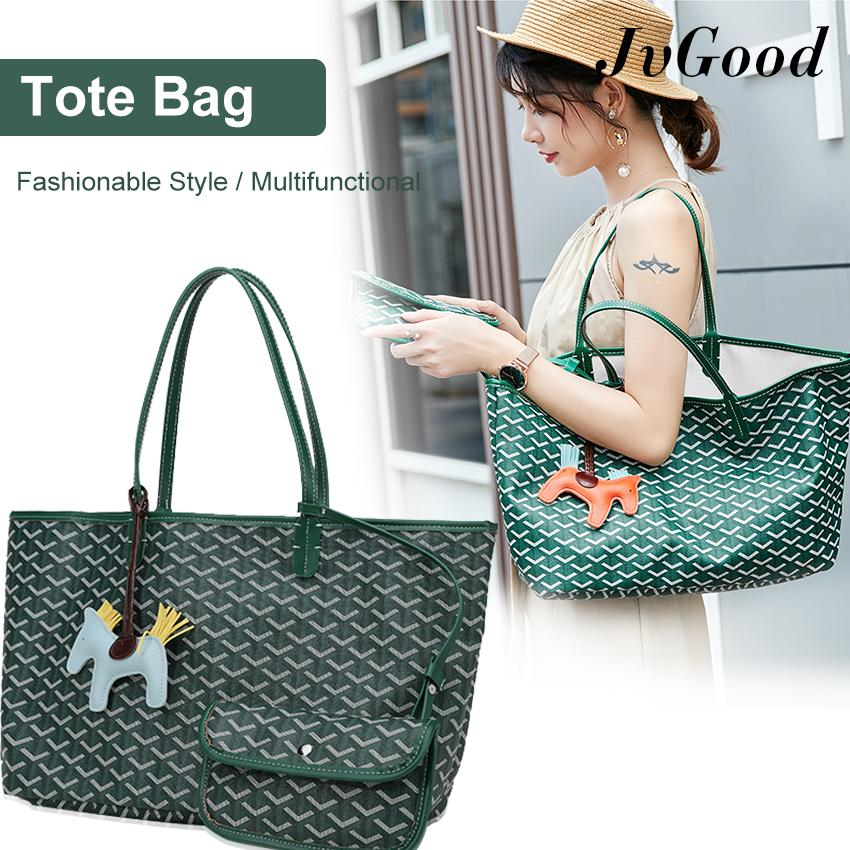 JvGood Women PU Tote Bag Fashion Shoulder Shopping Bags Leather Handbag High Capacity with Coin Pouch Wallet and Horse Shaped Pendant