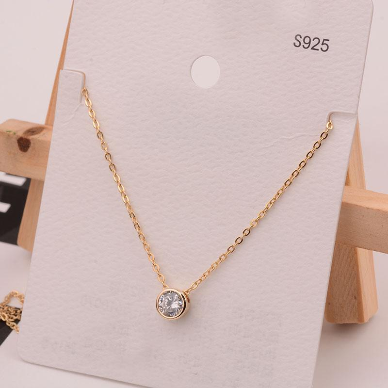 Heyi-Saving Tang Yan Celebrity Style S925 Silver Plated 14K Golden Circle  Necklace women Fashion Delicacy Autumn And Winter Sweater Chain