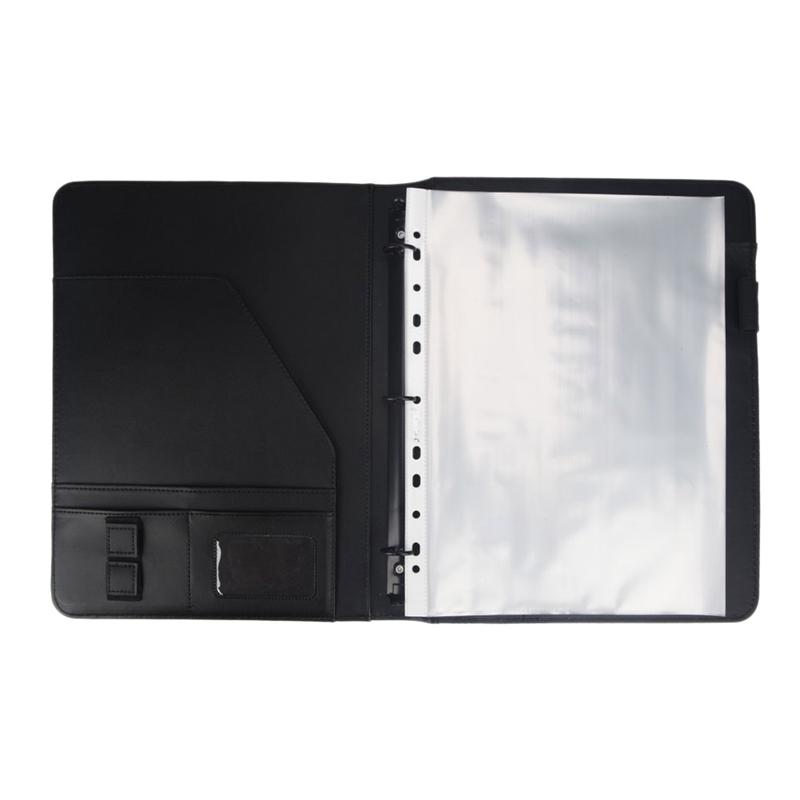 Mua A4 Vegetarian Leather 3 Ring Portfolio Binder Business Binder Padfolio with Notebook Pad for Interview & Business