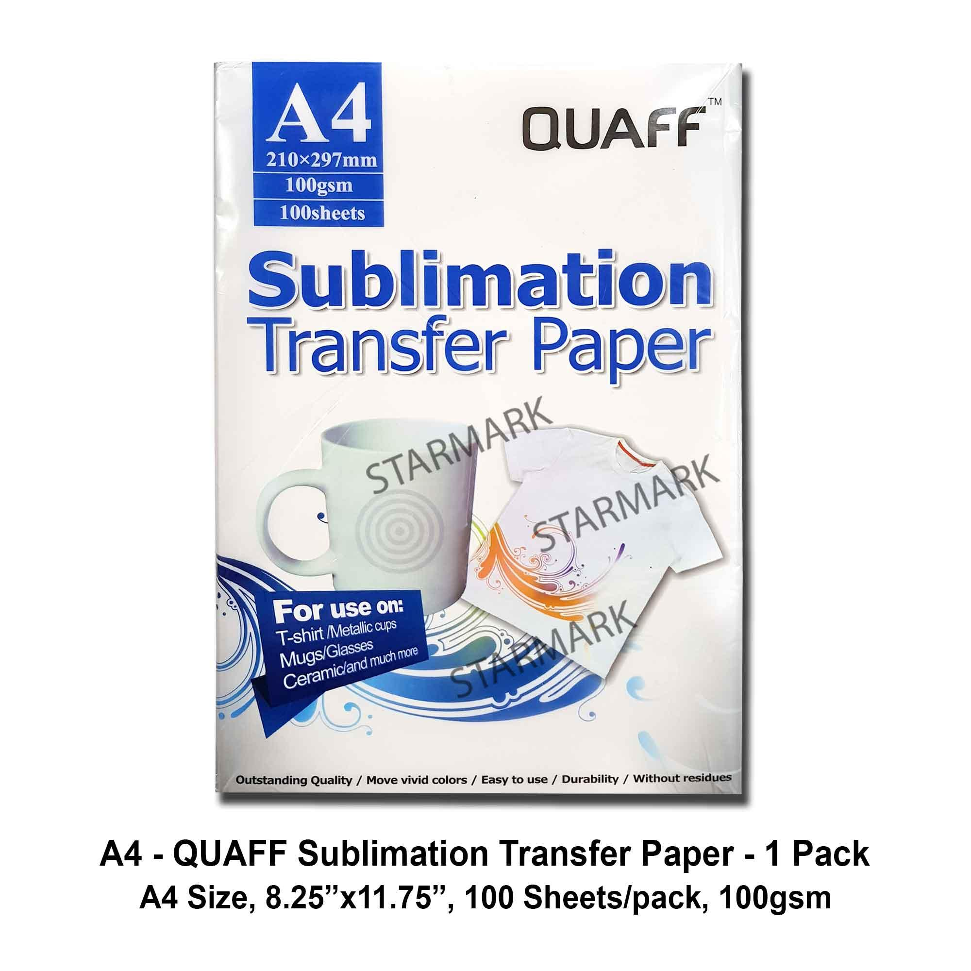 1 Pack Quaff Sublimation Paper Transfer Papers A4 Size, 8.25x11.75 Inches, 100 Sheets/pack, 100gsm, For Mugs, Tshirts, Etc. By Starmark Enterprises.