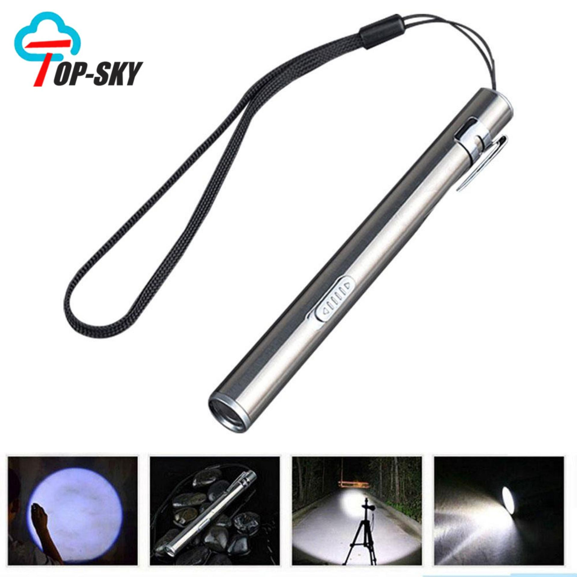 Top-Sky Mini Stainless Steel Usb Rechargeable Flashlight Pen Lights Mini Torch By Topsky.