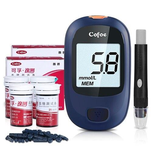 (meter with 100 strip )Cofoe Yice Glucometer Medical Blood Glucose Meter Diabetes Monitor & Test Strips & Lancet Needles for Testing Blood Sugar Levels LLT Store