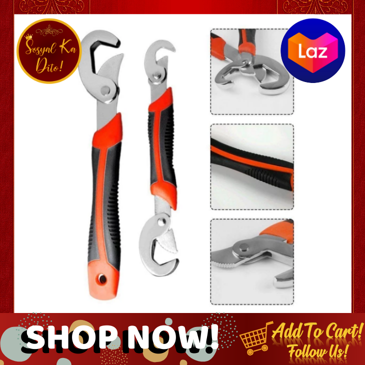2 pcs Portable Adjustable Quick Snap and Grip Wrench Universal Wrench Set silver /& black /& red