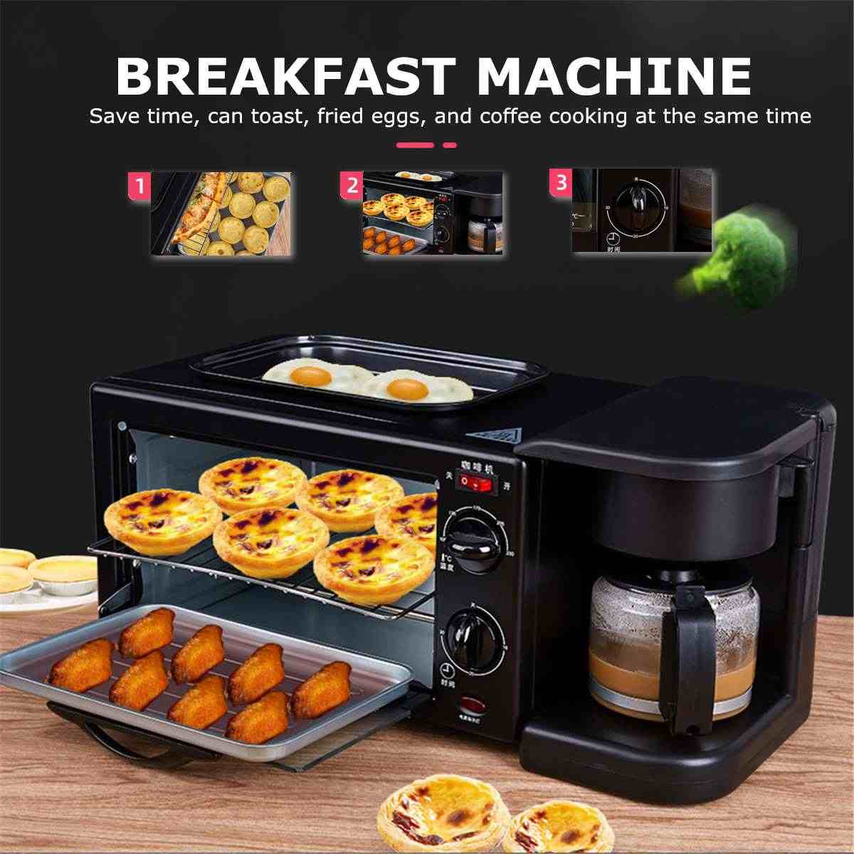 3 in 1 Home Breakfast Machine Coffee Maker Electric Oven Toaster Grill Pan  Bread Toaster | Lazada PH