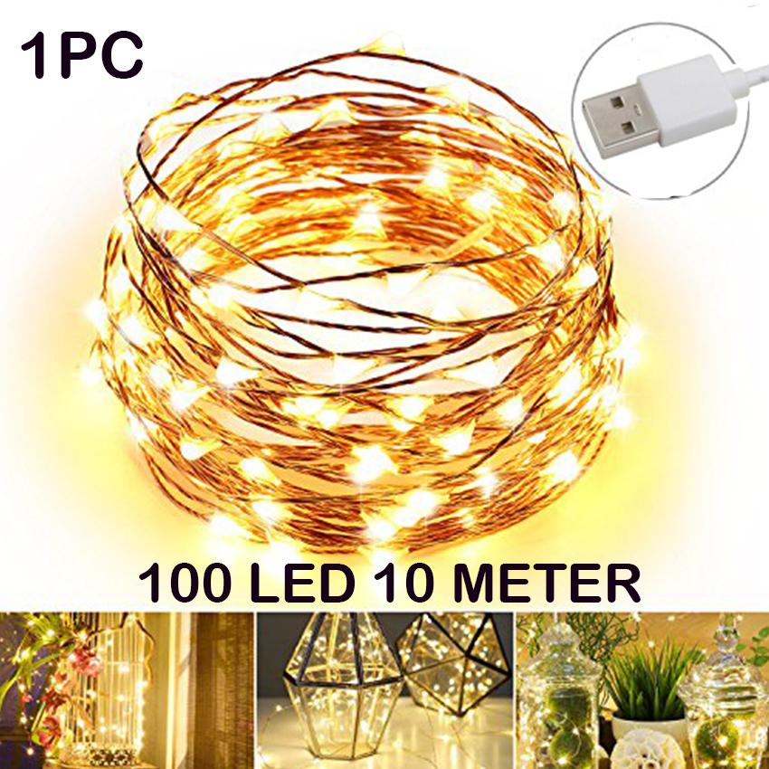 Usb Led Light String Holiday Lights Copper 10meters 100led Lantern Wedding Party Wedding Christmas Decoration Festival Fairy Xr - Intl By Nick Co. Store.