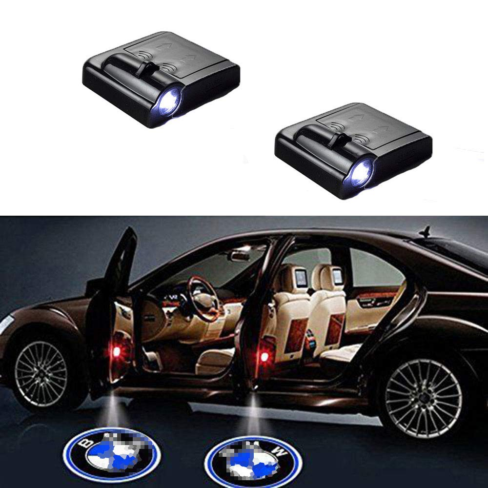 2PCS Universal Wireless Smart Sensor Car Projection LED Projector Door Ghost Light Shadow Light Welcome Light Laser Emblem Logo Courtesy Lights Lamps