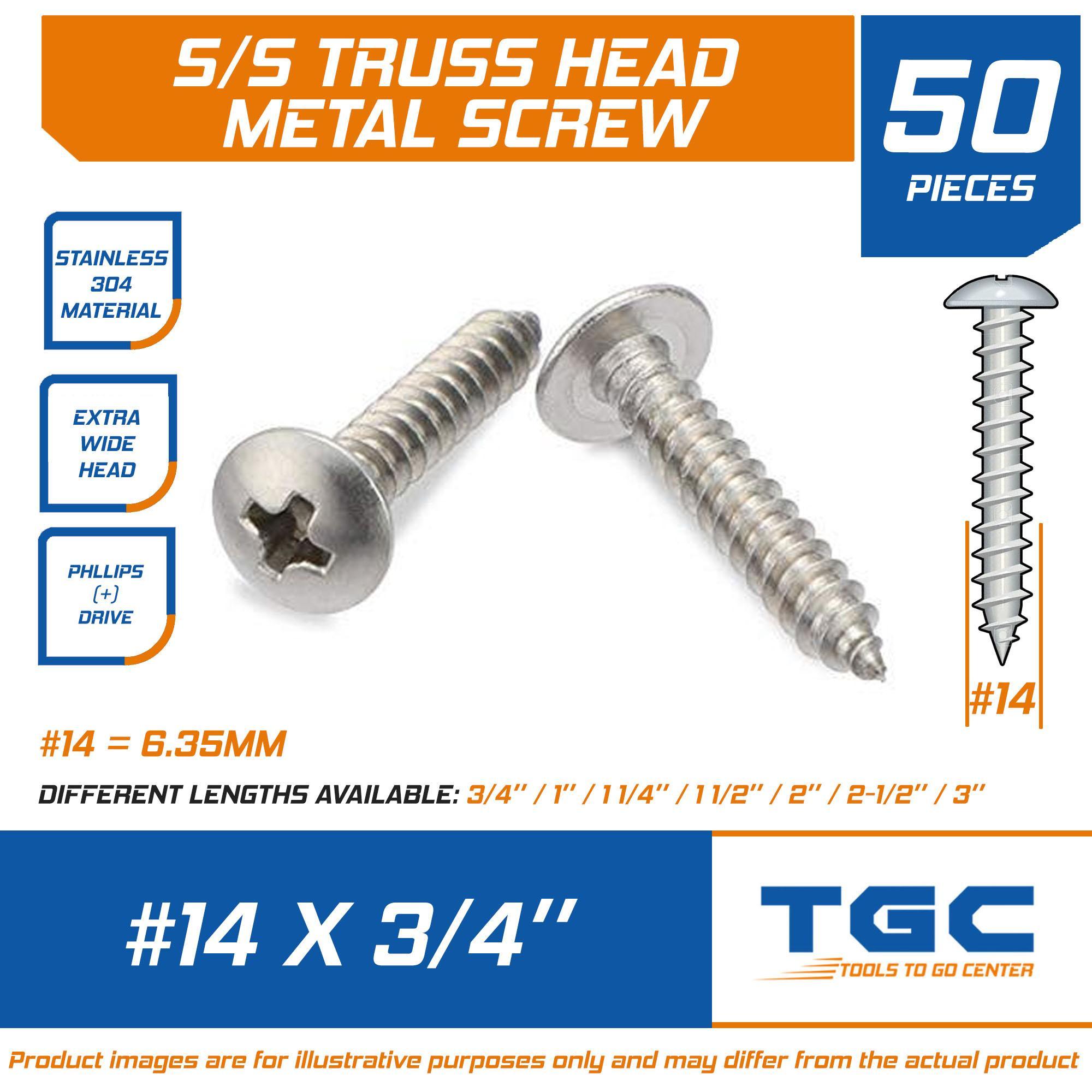 "Sheet Metal Screws Stainless Steel Phillips Truss Head #14 x 1//2/"" QTY 50"