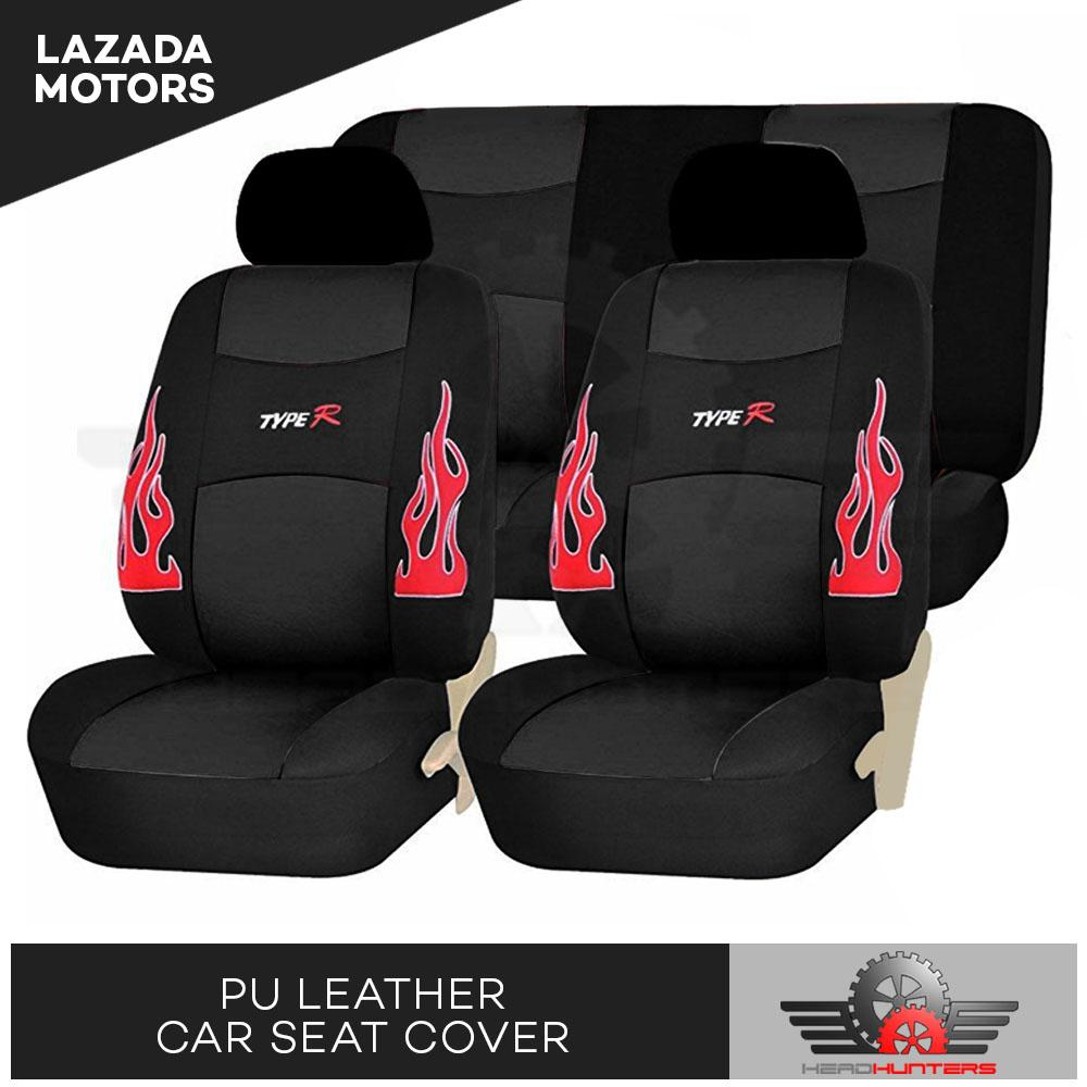Head Hunters Type R Universal Fit PU Leather Car Seat Cover Set Black