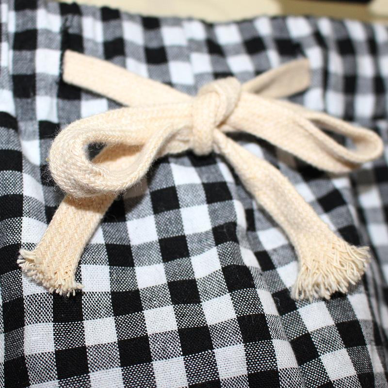 Summer women dress for women Wholesale Korean Style New Style Students  Leisure Holiday Beach Shorts Loose And Plus-sized Black And White Plaid  Cotton