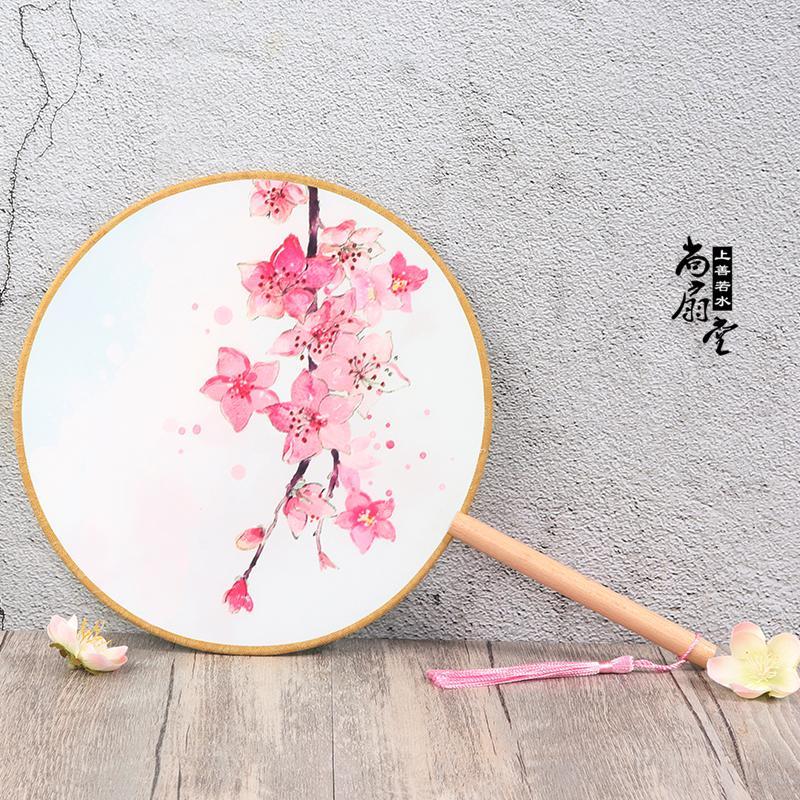 Lụa Thông Qua Quạt Tròn Retro Phong Cách Quạt Cung Đình Quạt Tròn Cổ Quạt Quạt Nữ Giới Cổ Điển Hán Phục Cos Biểu Diễn Quạt Múa Tay Cầm Màu Đen Nhật Bản