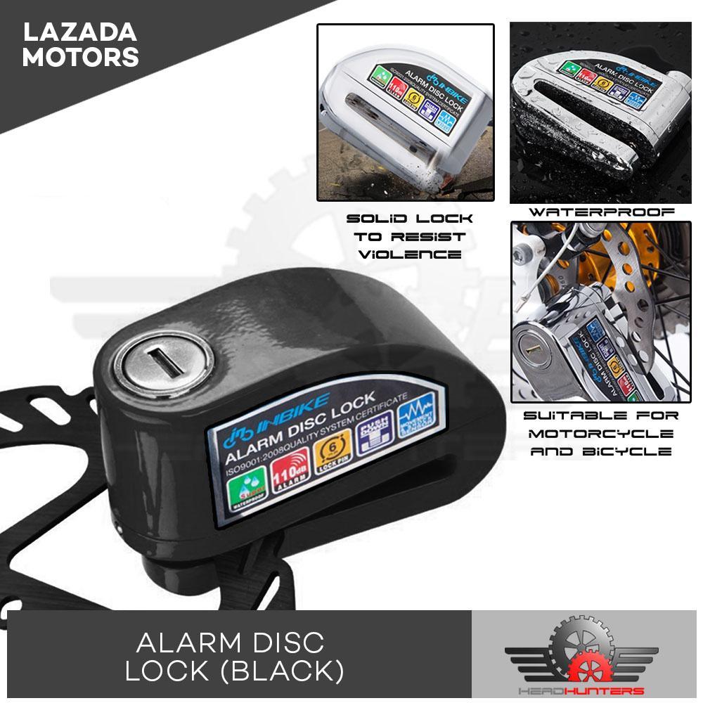 Heavy Duty Motorcycle 110db Alarm System Rotor Disc Lock (black) - Alarm Lock By Head Hunters.