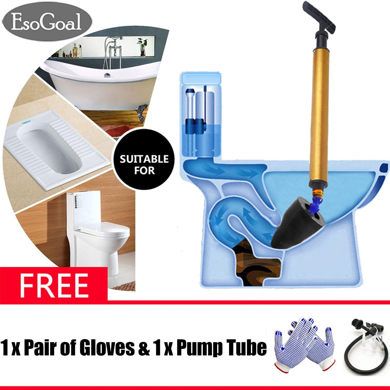 EsoGoal Toilet Plunger Toilet Dredge Air Pump Blaster Toilet Flush Pump Cleaner High Pressure Plunger Opener Cleaner Pump for Bath Toilets, Bathroom, Shower, Kitchen Clogged Pipe Bathtub