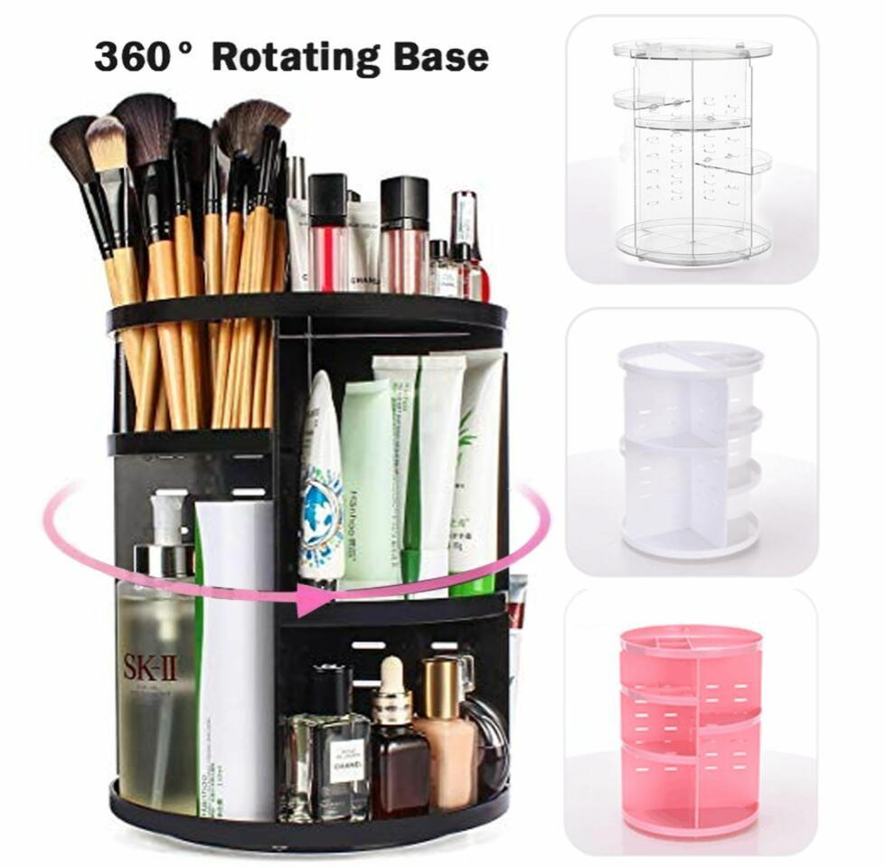 519f2261b199 360 Rotating Make up Organizer 360 Degree Rotating Cosmetic Storage Display  Make Up Rack Beauty Care Holder Rack Clear Cosmetic Drawers Jewelry Makeup  ...