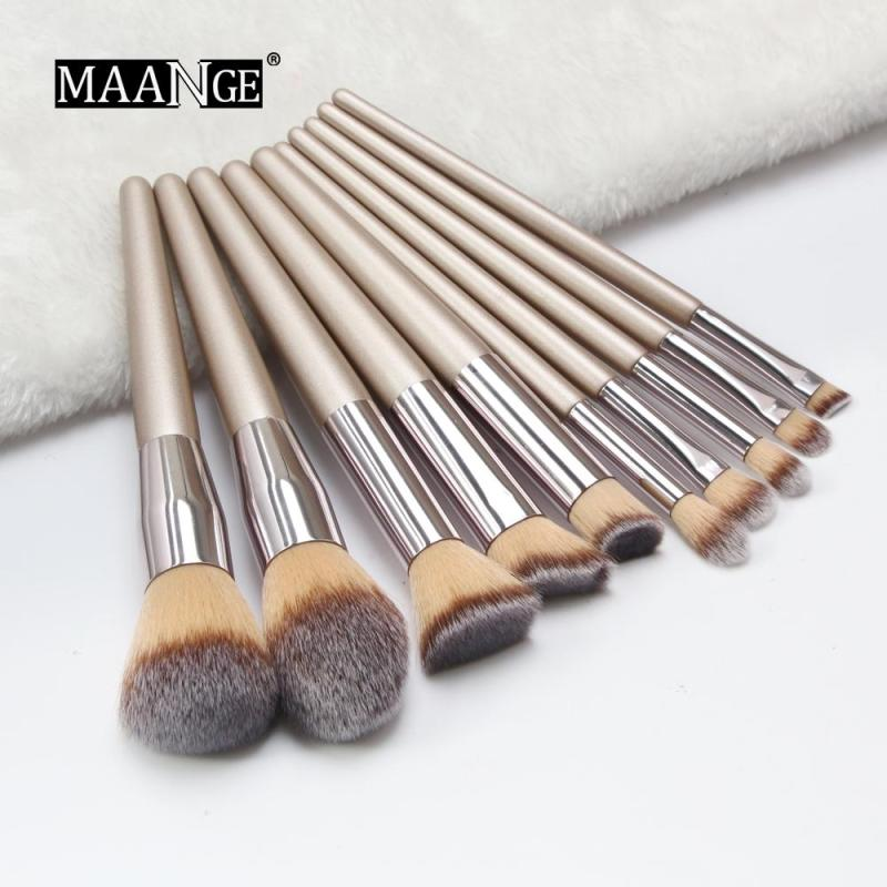 MAANGE 10PC Bàn chải mỹ phẩm Champagne Gold Set Foundation Powder Make Up Brush