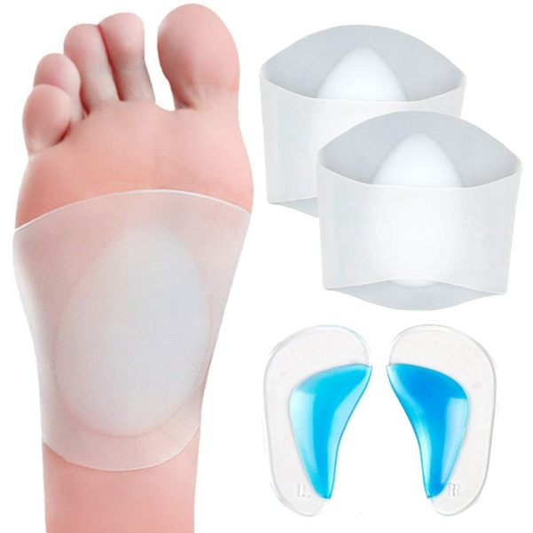 Gel Arch Support Set, 2 Pairs Plantar Fasciitis Sleeves/Shoe Insoles for Flat Feet, Reusable Soft Silicon Arch Sleeves with Padded Cushions for Plantar Fasciitis, Flat Feet giá rẻ