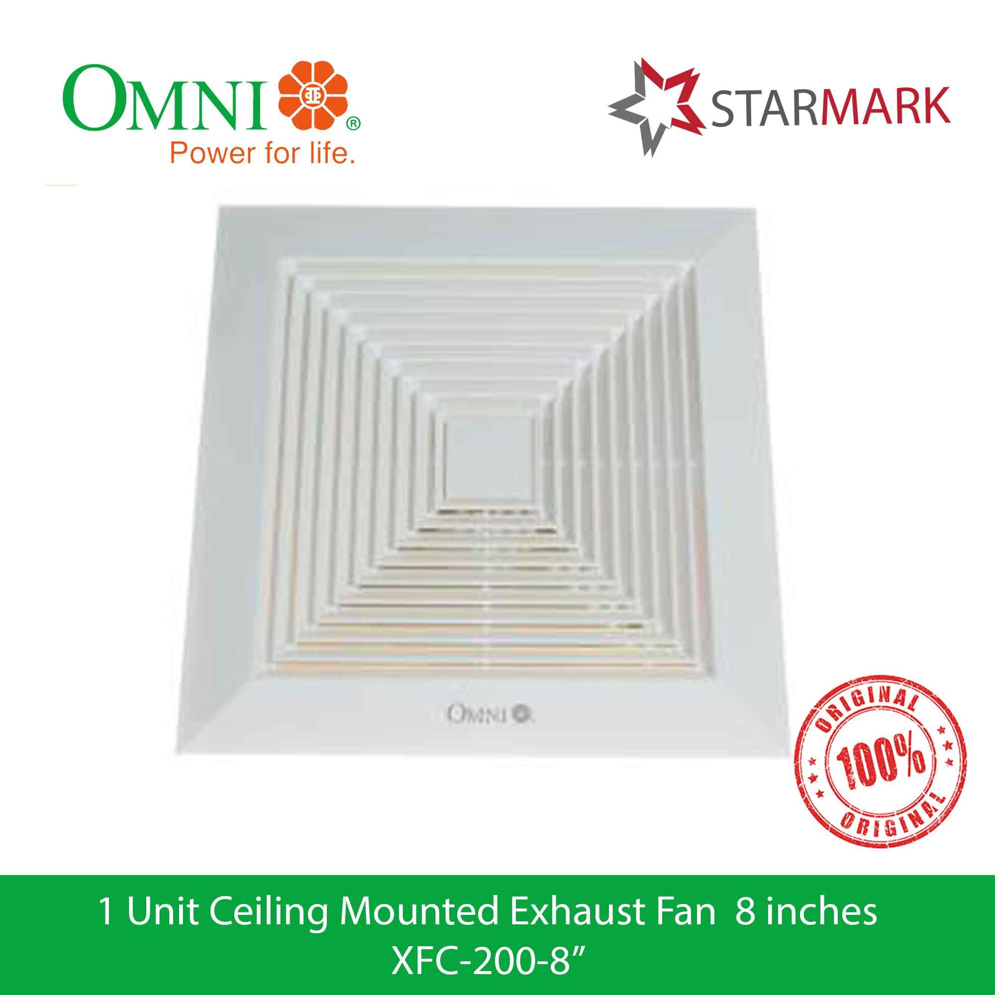 Omni Ceiling Mounted Exhaust Fan 8 inches inch XFC-200-8 XFC200-8  XFC-200-8