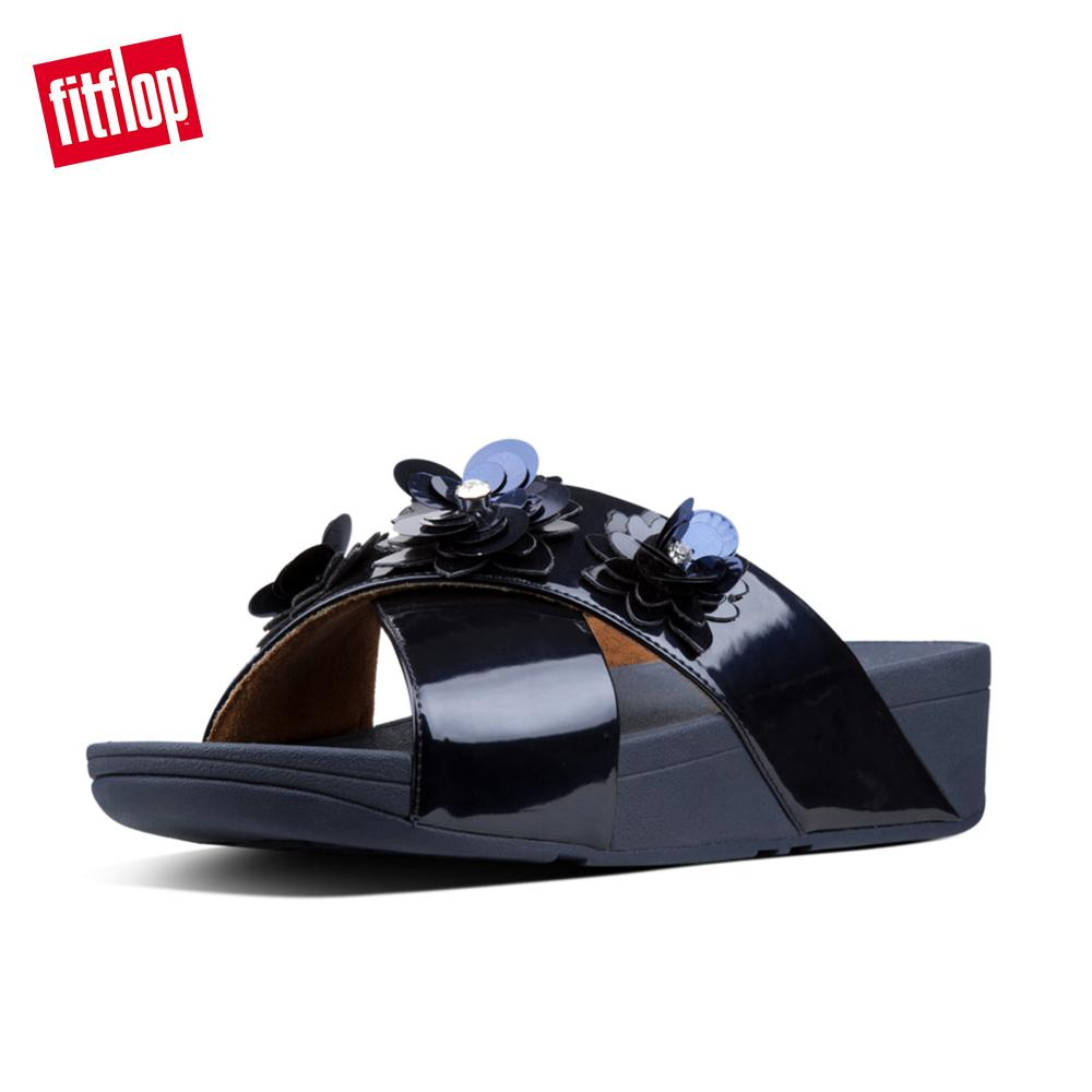 7b91646b2bc3 Fitflop Women s Sandals N94 Lulu Flower Slide Super Cushioned Comfortable  Stylish Slides