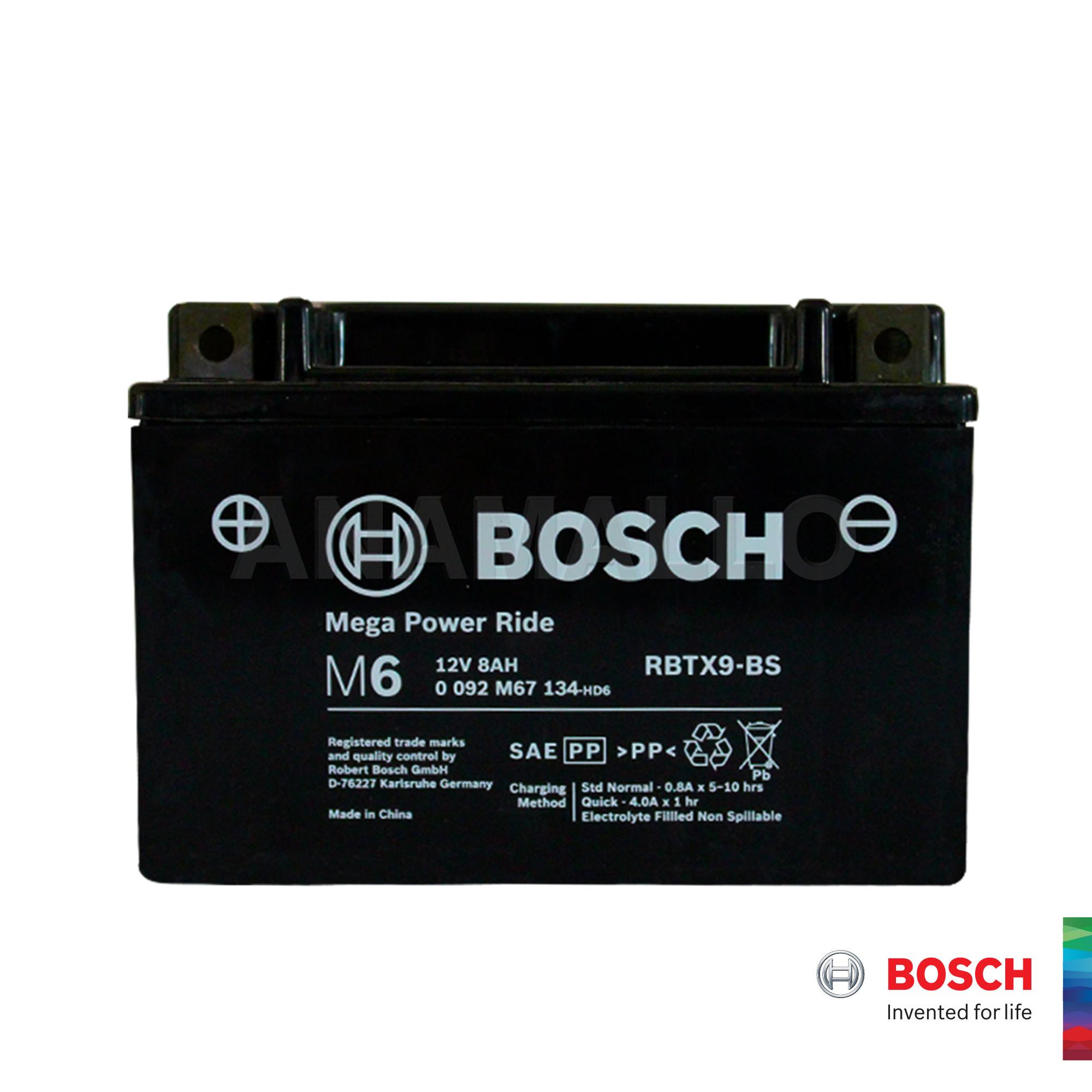 Bosch Motorcycle Battery M6 Mega Power Ride Rbtx9 Bs 12v 8ah Ytx9 Bs Lazada Ph