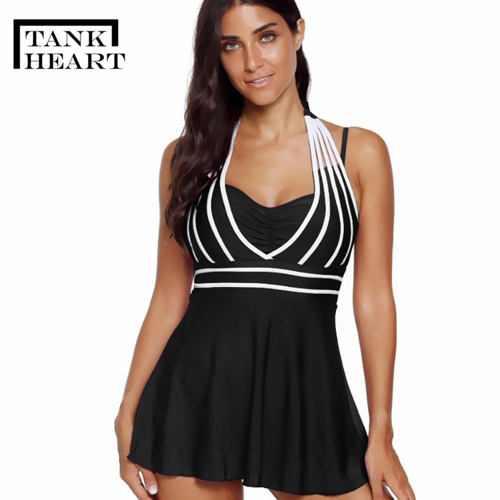 a4b33d5b54 Tank Heart Black Red Blue Plus Size Swimwear Large Sizes Tankini Swimsuits  Women Two Piece Swimsuit