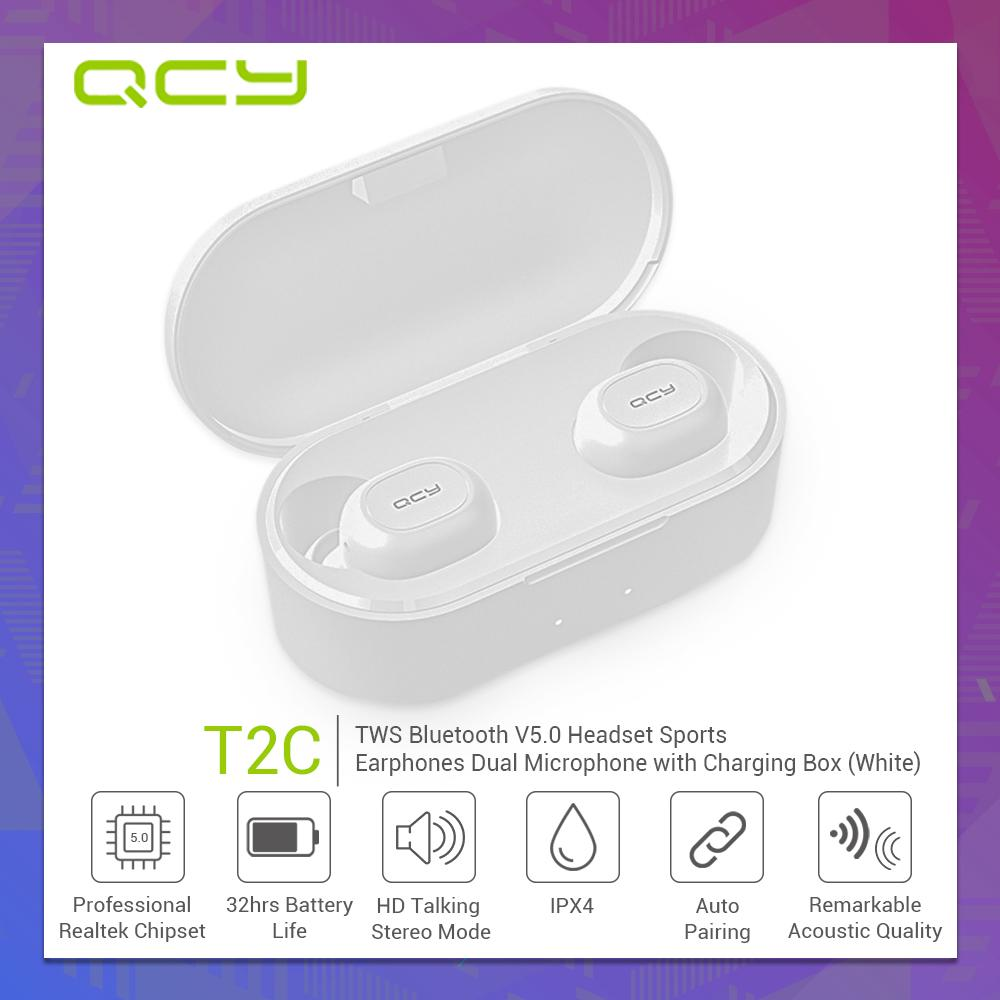 QCY T2C TWS BT5 0 Wireless earbuds with Dual Microphone 3D Stereo Bluetooth  Headphones Sport earbuds