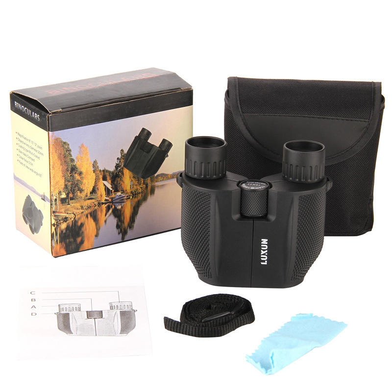 LUXUN 10X25 HD Telescope Wide Vision All-Optical Double Green Film Waterproof Telescope Tourism Binoculars