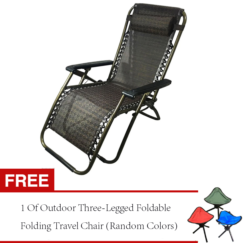 COD Mall Foldable Zero Gravity Lounge Reclining Chair w Adjustable Headrest for Home & Office Free 1 OF Outdoor Three Legged Foldable Folding Travel