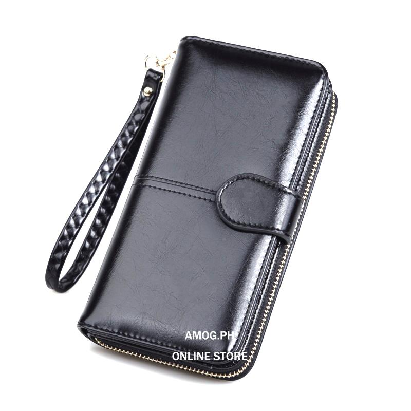 AMOG Korean Oily Leather Long Wallet Coin Purse Women Wallet Card Holder Long Lady Clutch