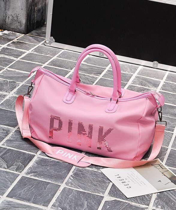 9453cd89d8b5 Abby Shi 1127 Women Oxford Pink Travel Bag Waterproof Weekender Luggage  natural glossy Bags