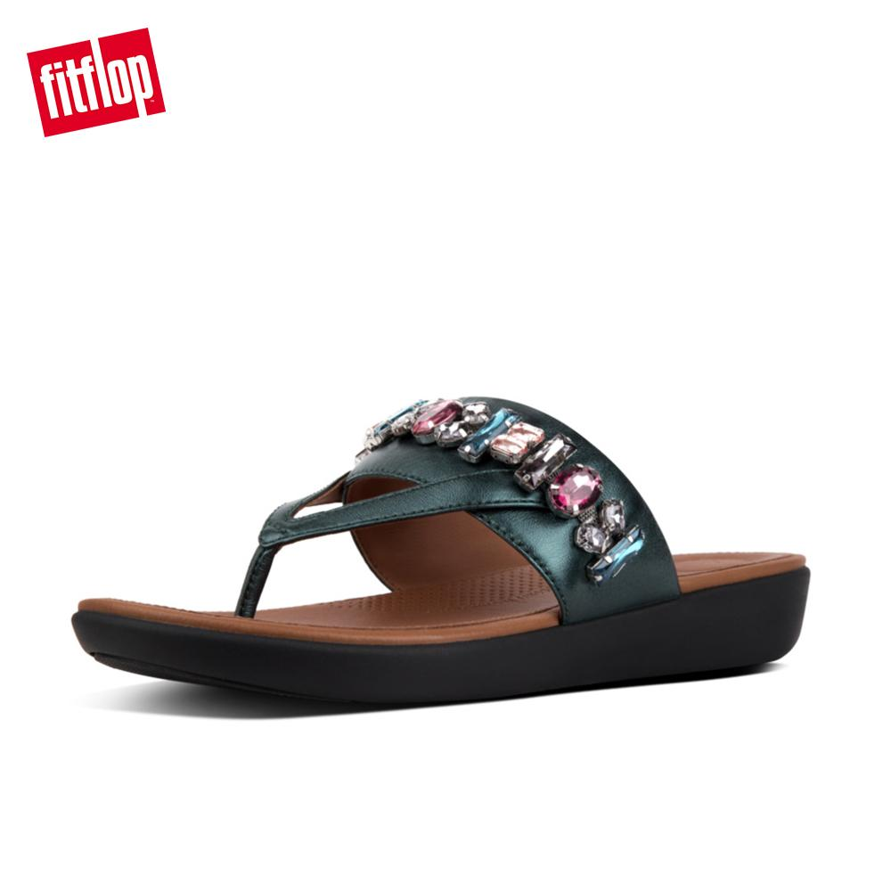 19e72b4e806b Fitflop Women s Sandals N47 Delta Bejewelled Toe Post Stylish Patterned  Cushioned Sandals