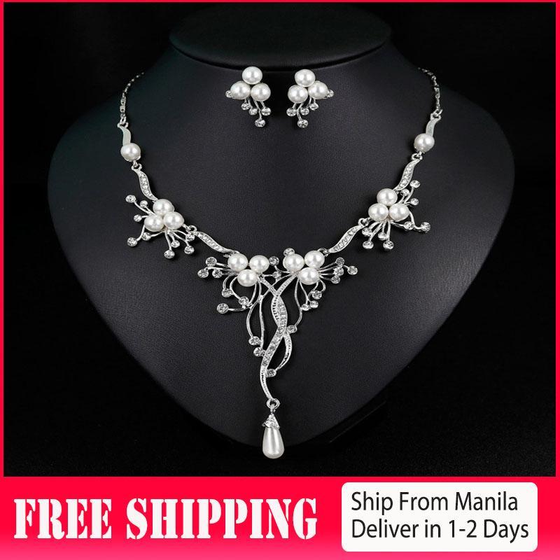 6165dde2db Korean Japanese Style Women's Pearl Diamond Rhinestone Crystal Chain  Pendant Necklace Dangle Earrings Bride Wedding Jewelry