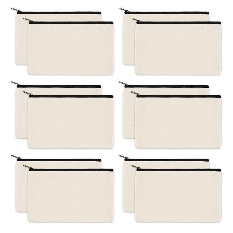 12 Pack Canvas Zipper Bags, Blank DIY Craft Pouches for Travel Cosmetic Makeup Bags, Pencil Case, Party Gift Bags, Coin Cash Purse