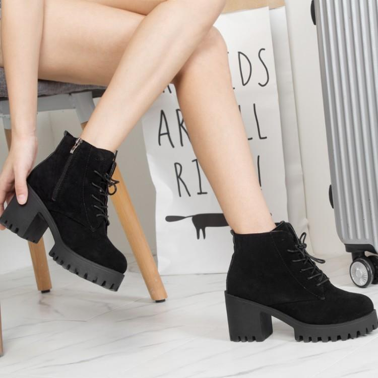 57233dd0c16d Korea Women Fashion Short Boots Suede High Heel Lace UpAnkle Boots
