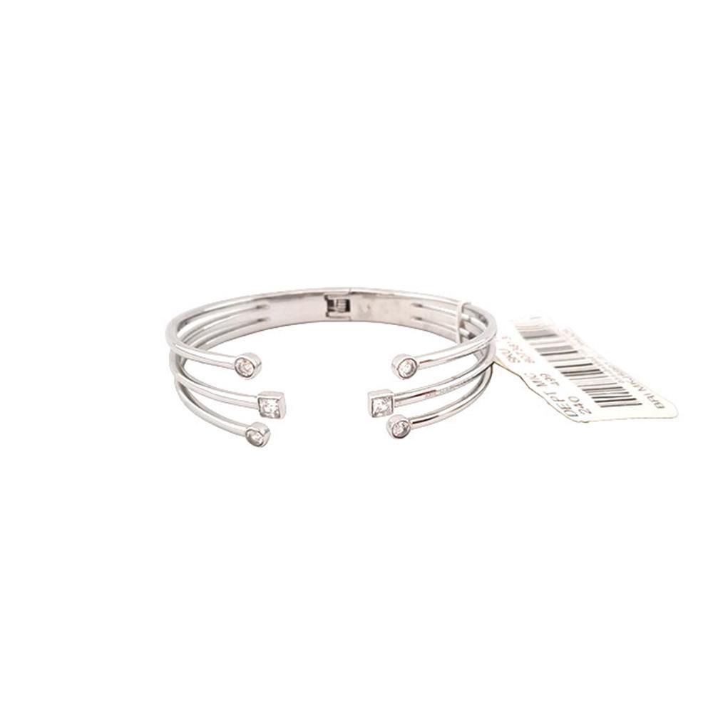 80e140942444c Michael Kors Silver Tone Crystal Fireworks Open Cuff Hinge Bracelet (Silver)