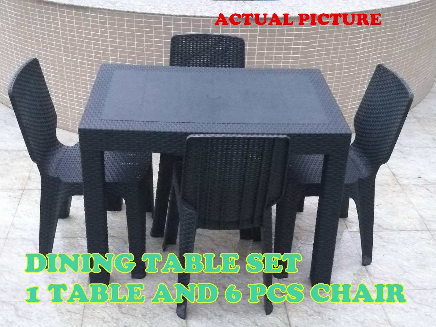 Dining Table Set (table And 6pcs Chair) Outdoor Table Indoor Table Dinning Room Set Furniture Set Rattan Design Sunrise 24x38 By Lucas Houseware Collection.