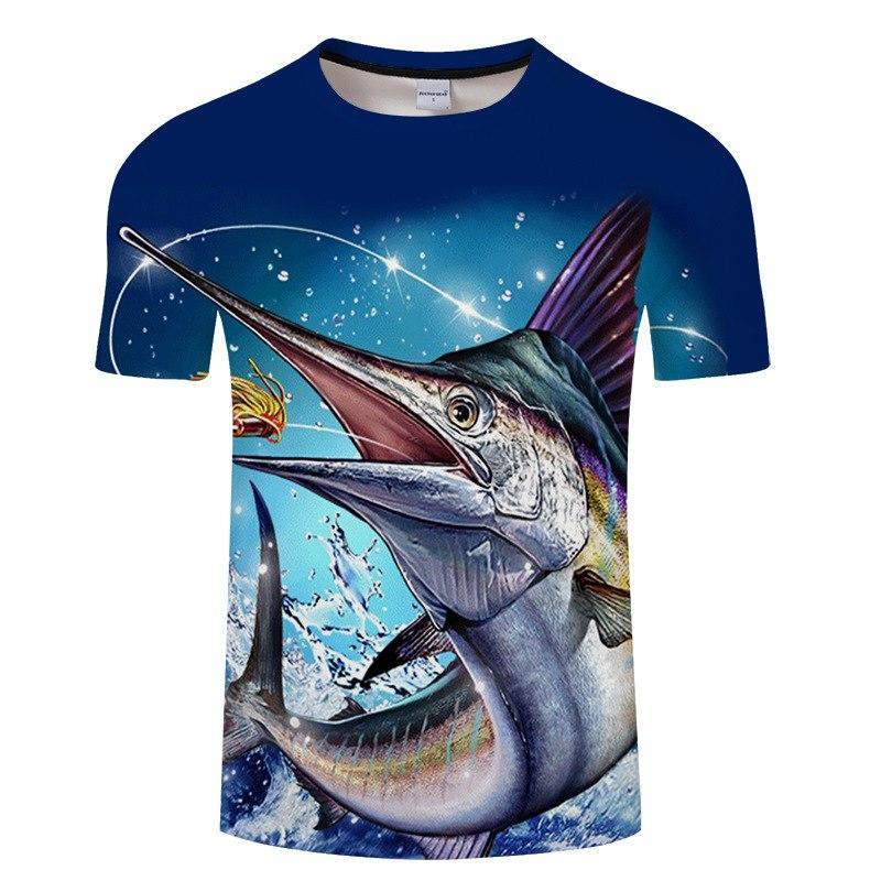 d81f81dfc Fishing 3D T-shirt Modal Fun Fish Print Digital Men s And Women s Tshirts  Hip Hop