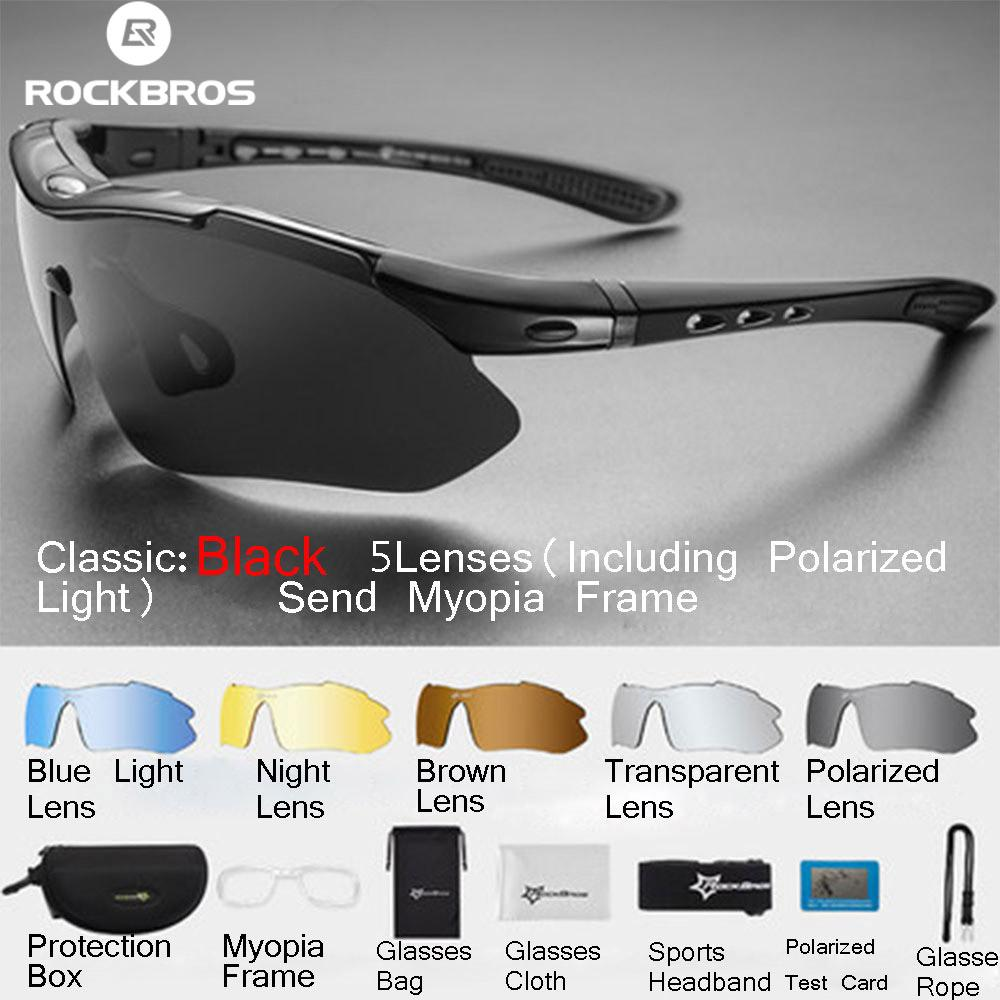 7879a6a673 ROCKBROS Polarized Sports Men s Sunglasses Mountain Road Cycling Glasses  Bicycle Riding Goggles Glasses 5 Lens
